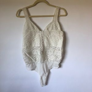 FREE PEOPLE ivory crocheted bodysuit NWOT